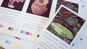 thumbnail of the four versions of the letterpressed business cards for Amy Clarkson